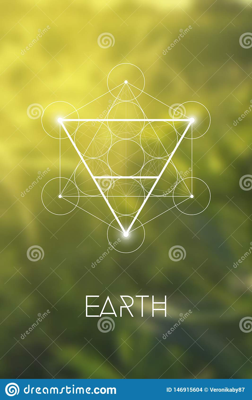 Simbolo sacro dell elemento della terra della geometria dentro il cubo di Metatron ed il fiore di vita davanti a fondo confuso na