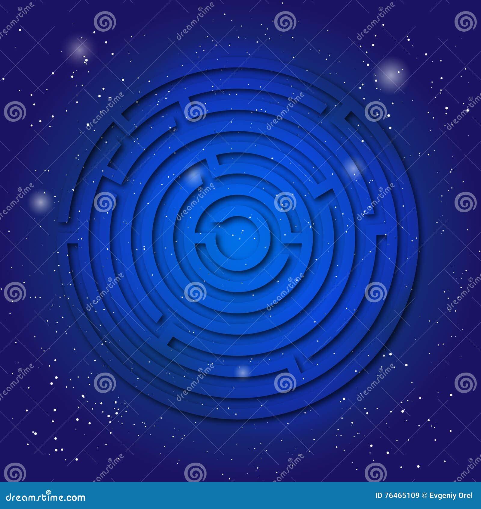 Simbolo sacro dello spiritual del labirinto sul cielo cosmico blu profondo La geometria sacrale in universo