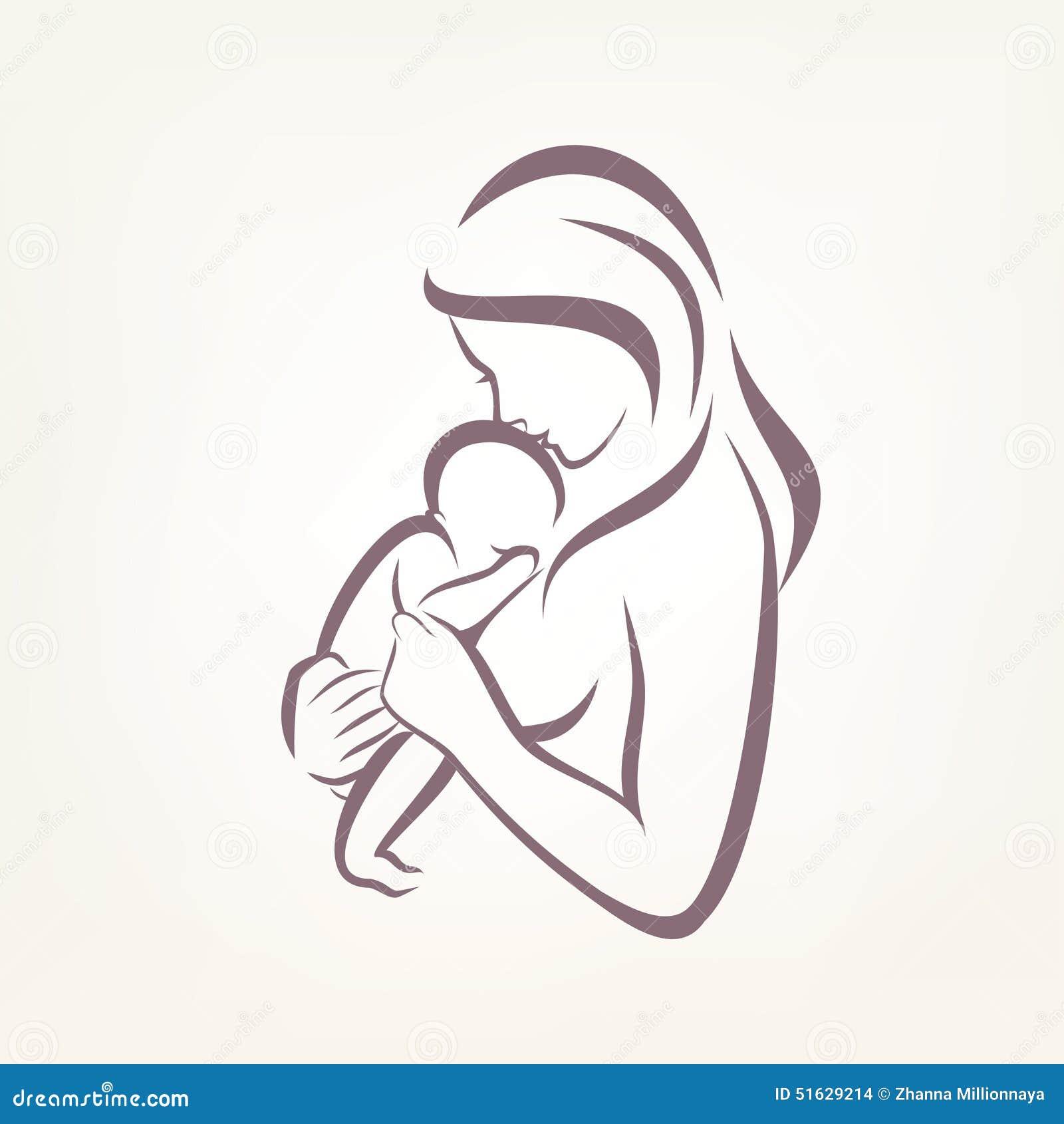 Simbolo Stilizzato Di Vettore Del Bambino E Della Mamma