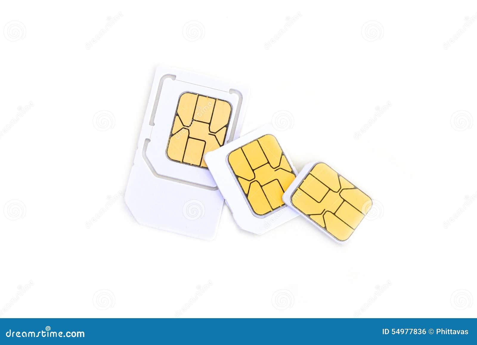 Simcard och mikrosimcard för mobiltelefon på vit bakgrund
