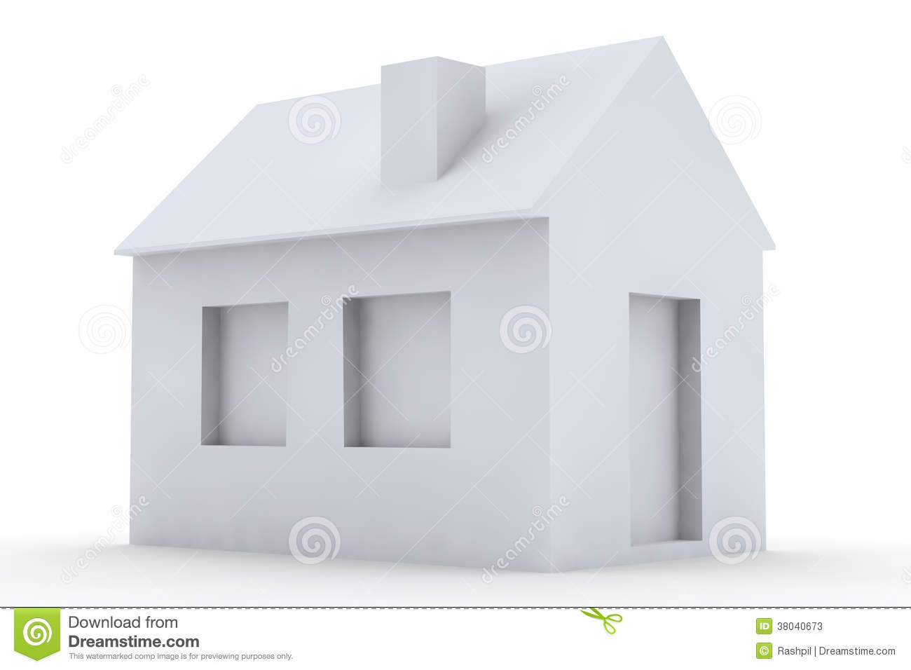 Simple 3d house stock photos image 38040673 for Minimalist house 3d