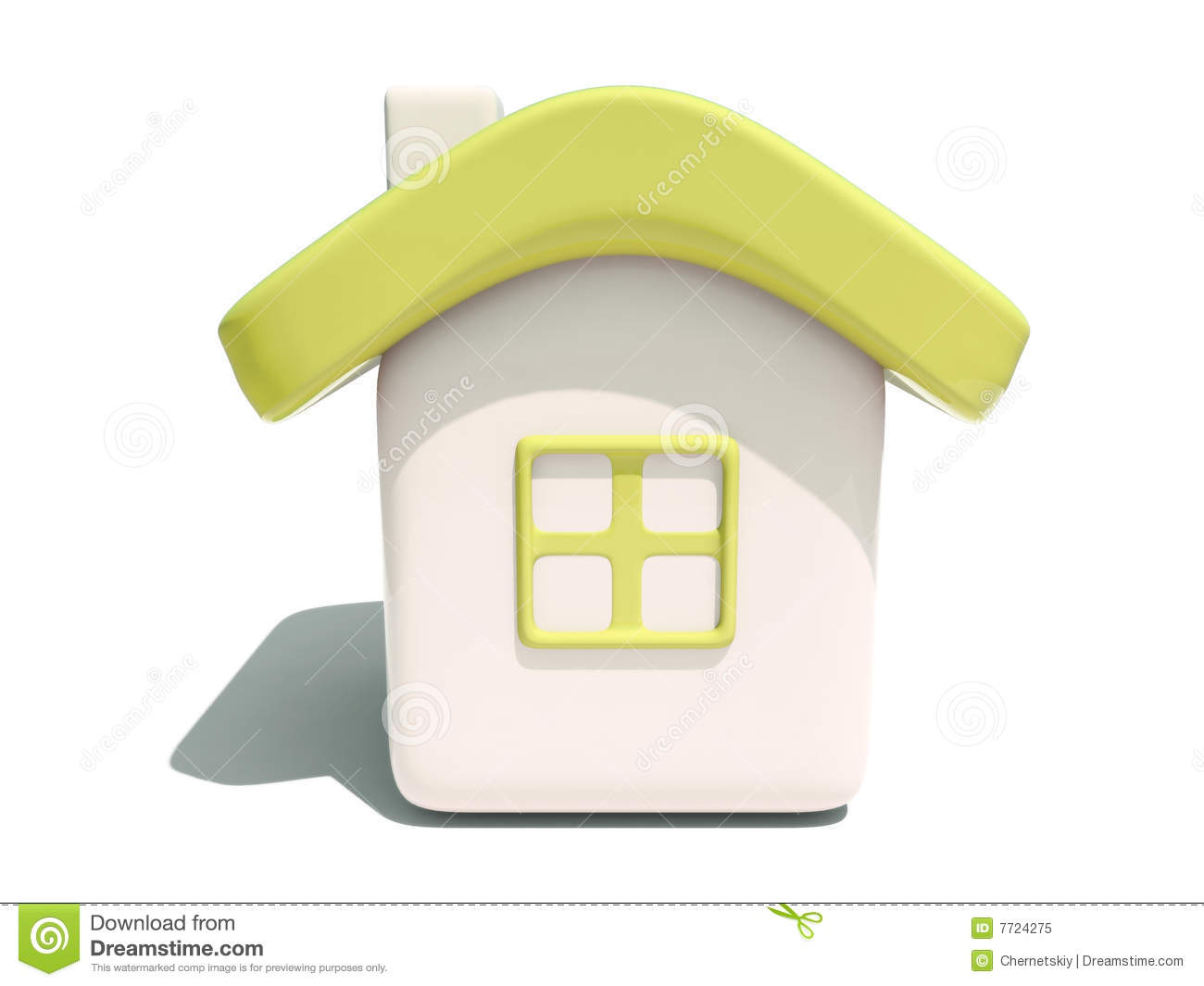 Simple 3d yellow house front view royalty free stock photo for Simple house front view