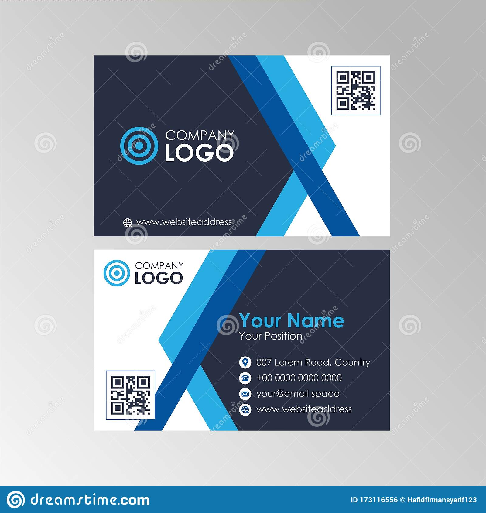 Simple Abstract Blue Business Card Design Template Vector Stock Throughout Qr Code Business Card Template
