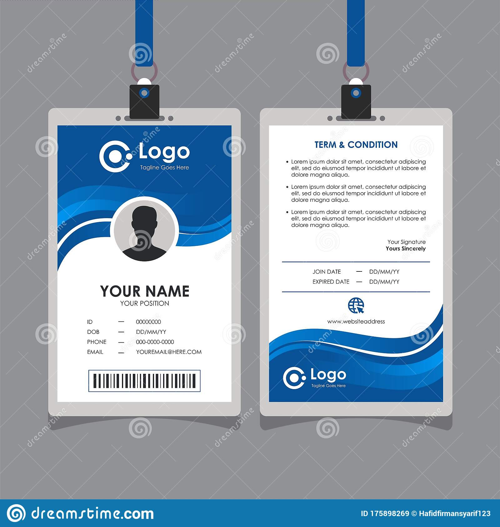 Simple Abstract Blue Wave Id Card Design Stock Vector In Sample Of Id Card Template