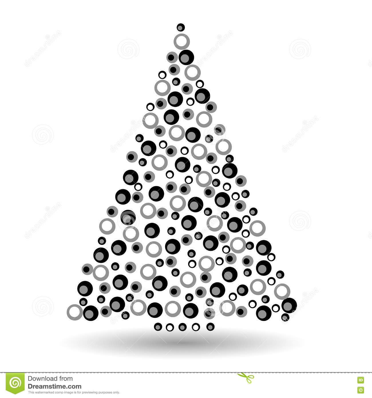 simple abstract chrismas tree of circles black and white abstract