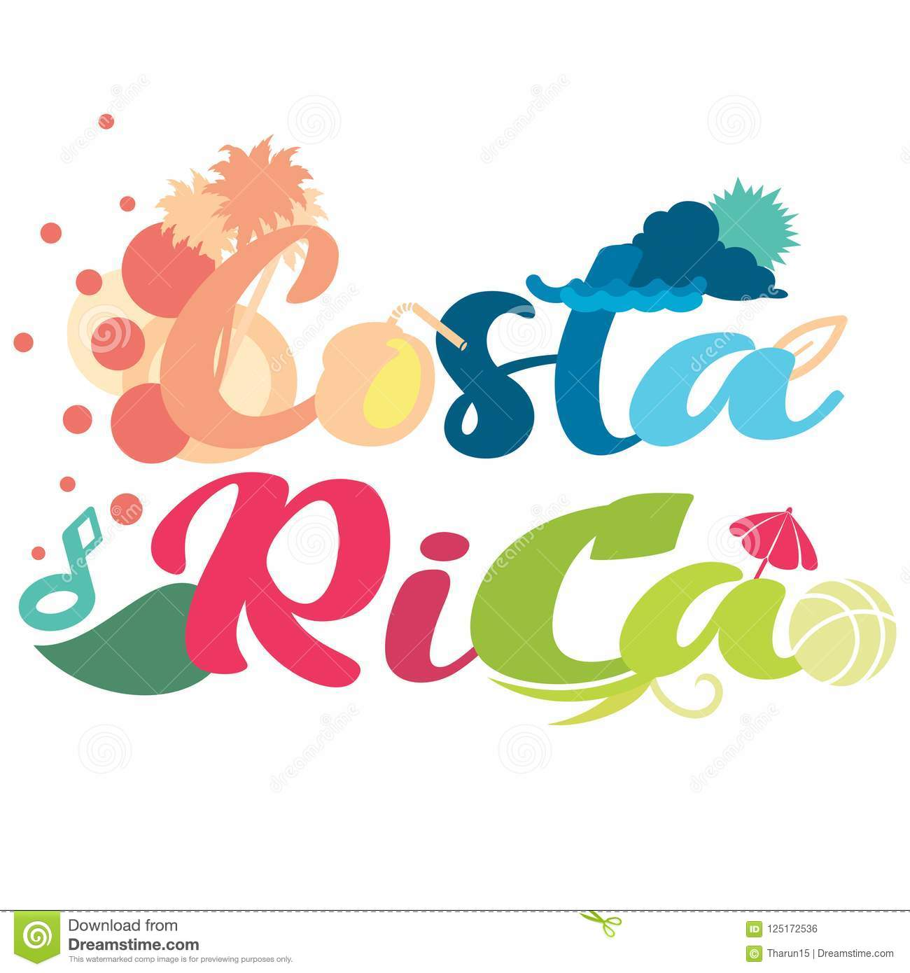 Simple abstract design on Costa Rica typography in vector format