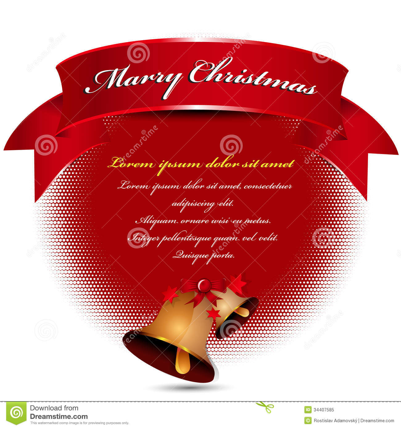 Abstract vector christmas background with ribbon bell bow for cards