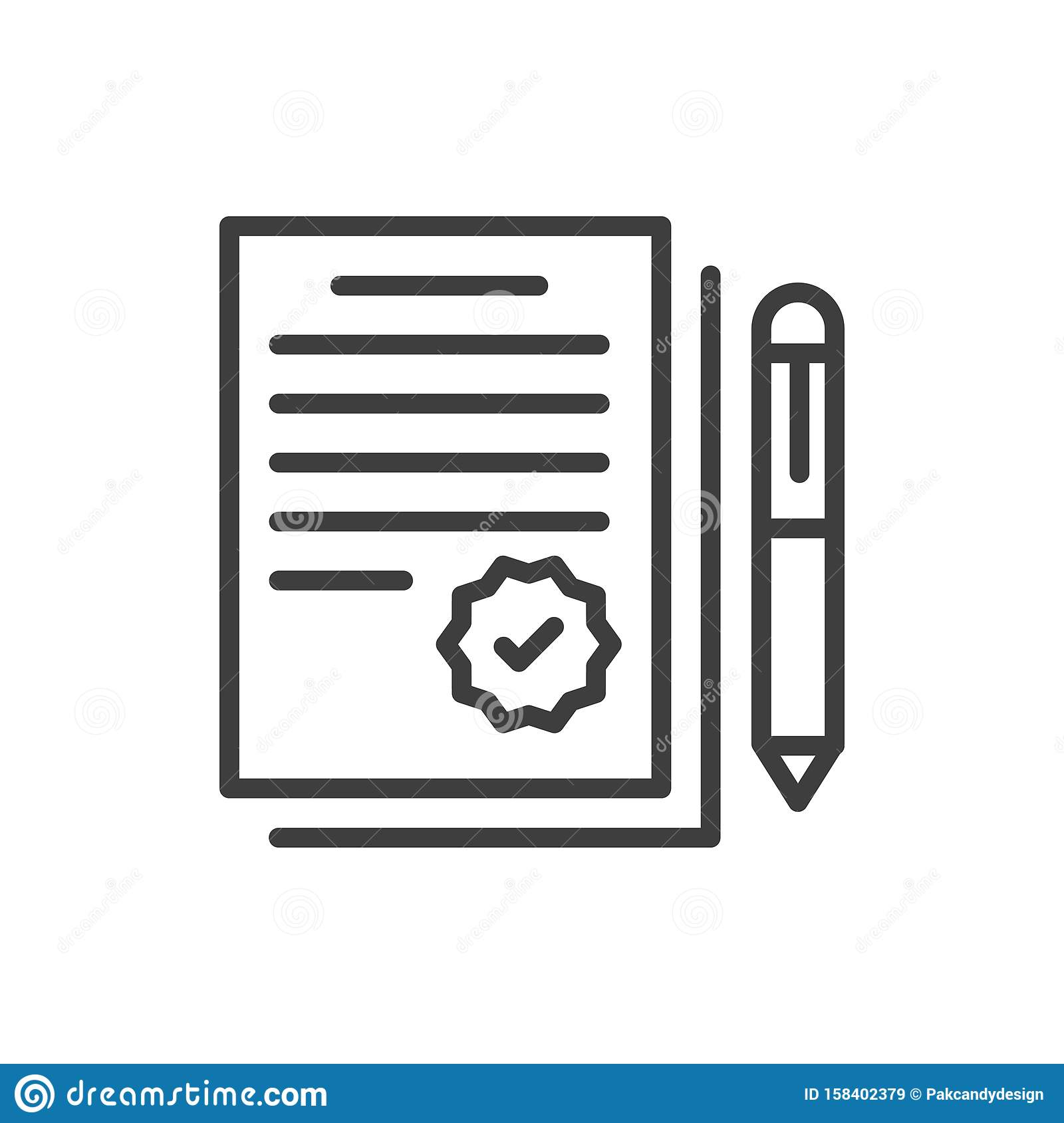 Simple Agreement isolated Graphic line vector illustration. editable Style in EPS 10 business concept.