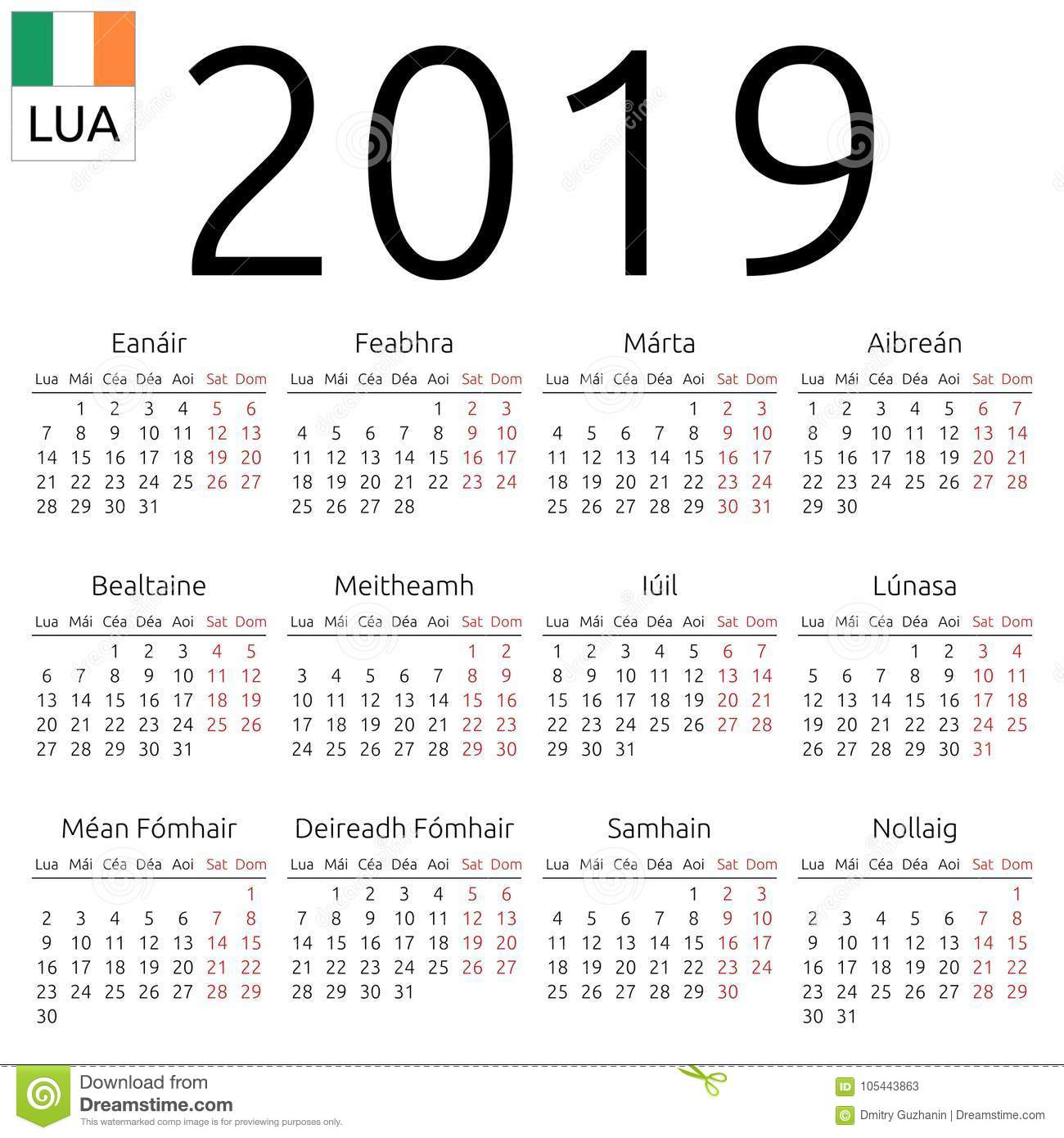 calendar 2019 irish monday
