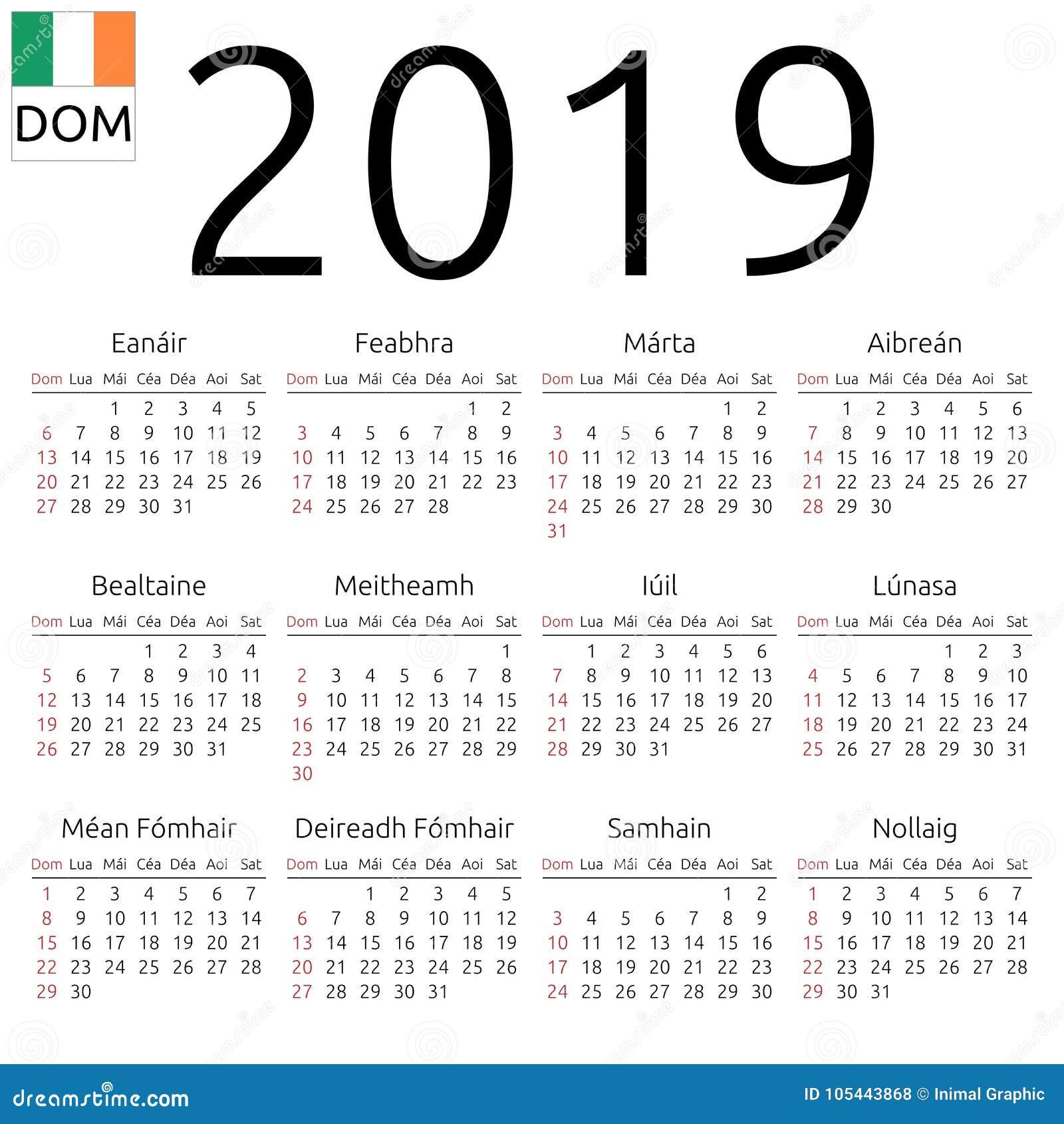 Calendario 2019 Week Number.Calendar 2019 Irish Sunday Stock Vector Illustration Of