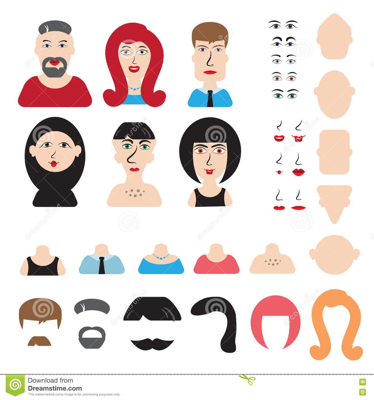 Simple Avatar Or Character Constructor Stock Vector Illustration Of Element Mustache 75739242