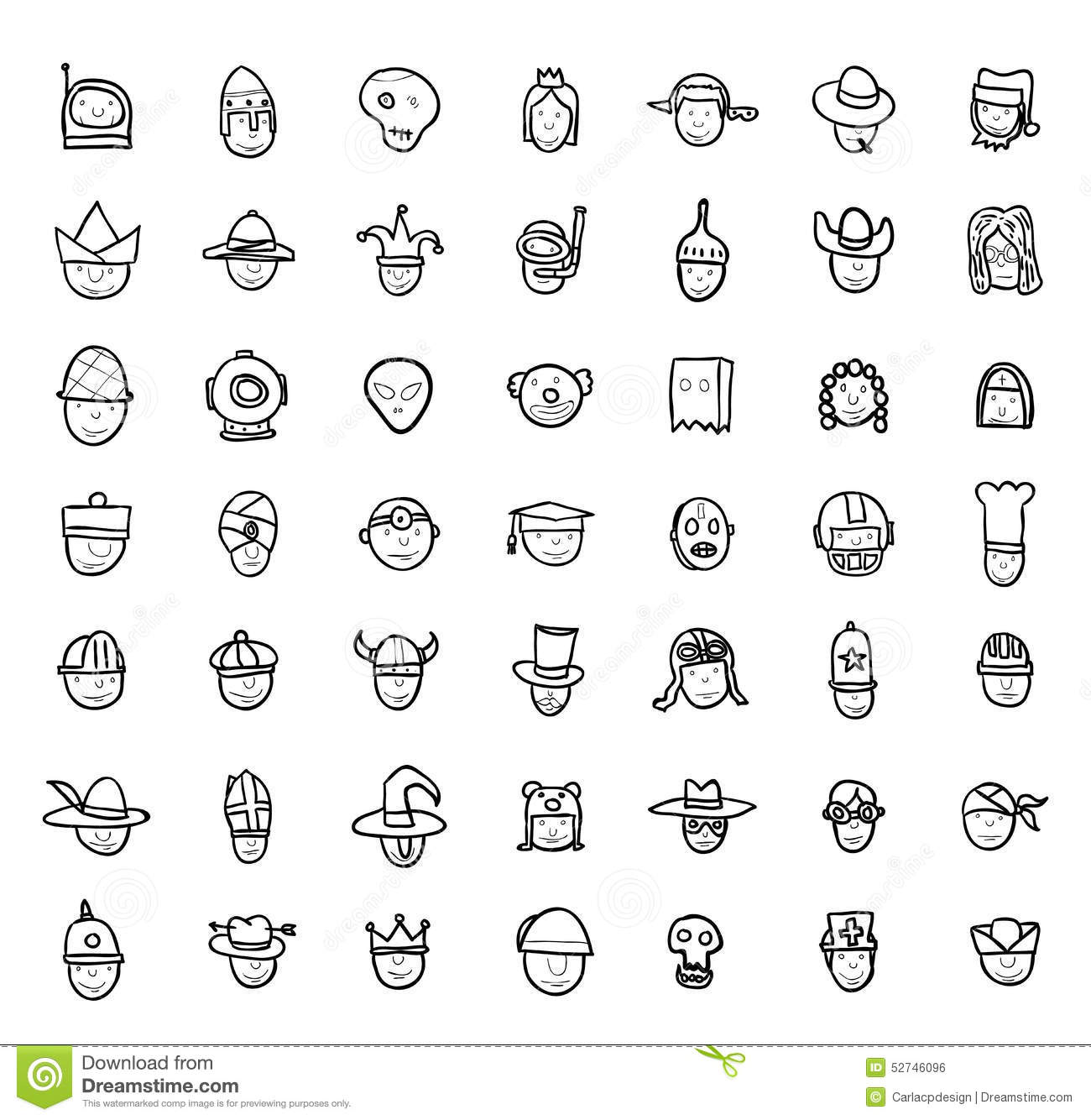Simple avatar icons set vector stock vector illustration