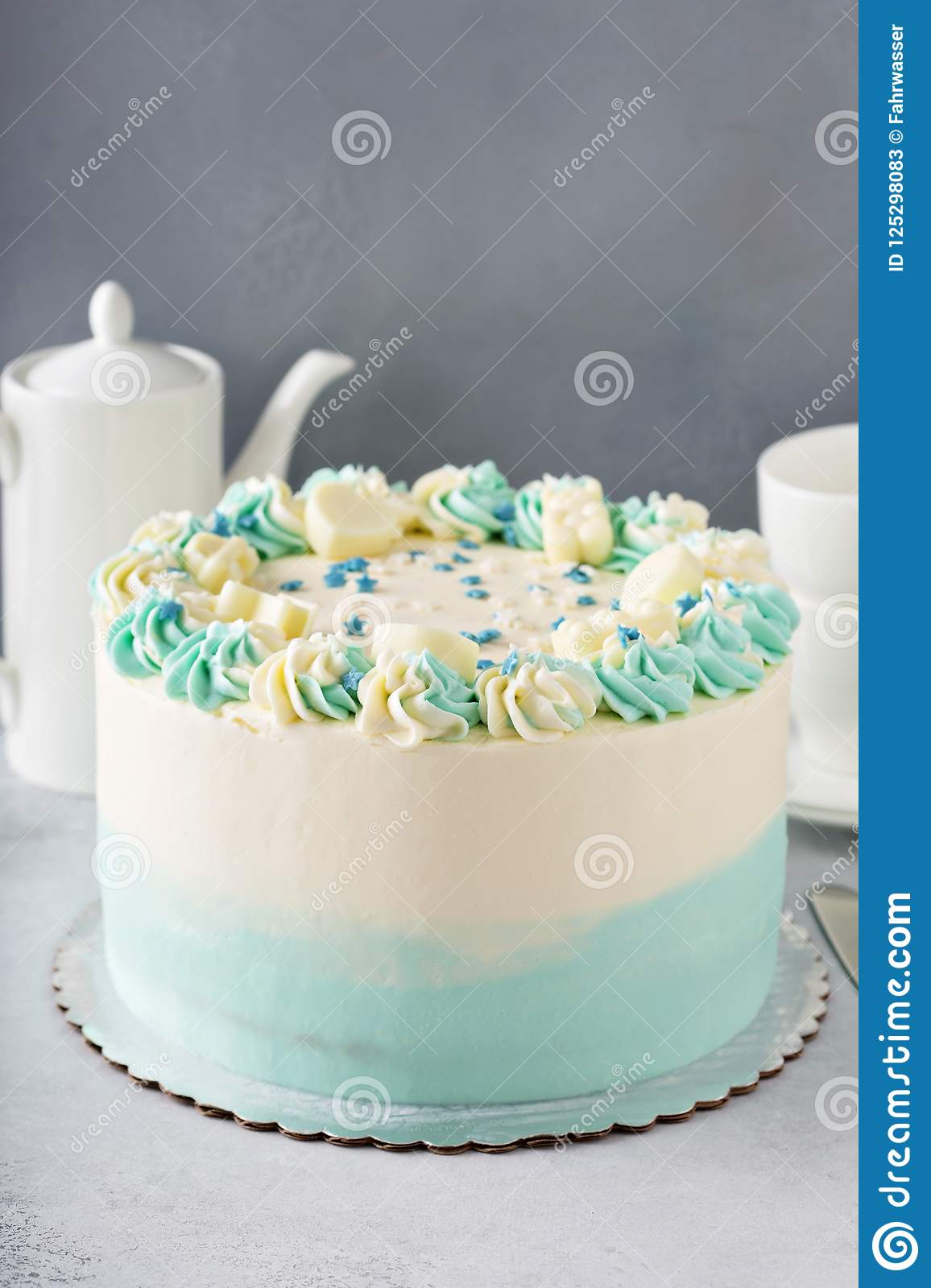 Simple Baby Shower Or Baptism Cake Stock Image Image Of Decoration