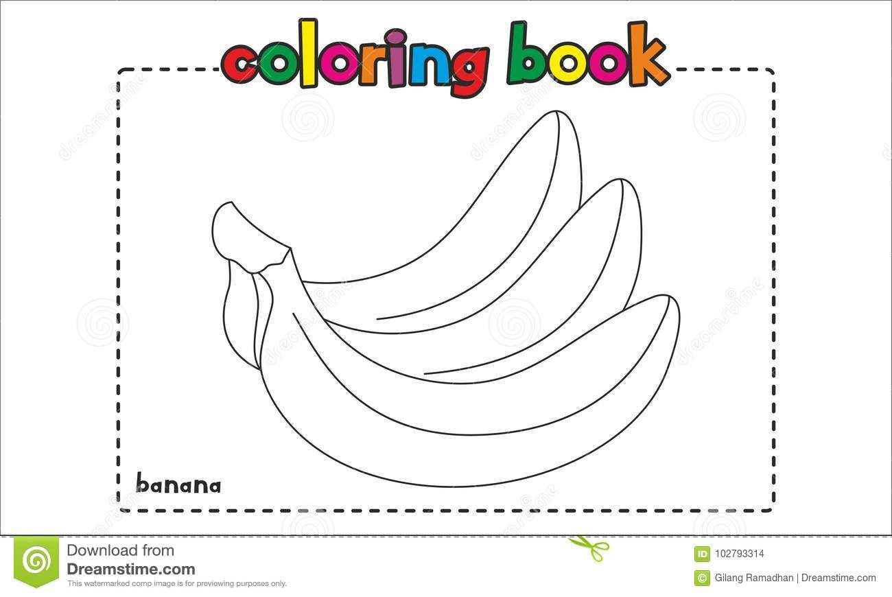 Simple Banana Coloring Book For Children And Kids Stock Vector