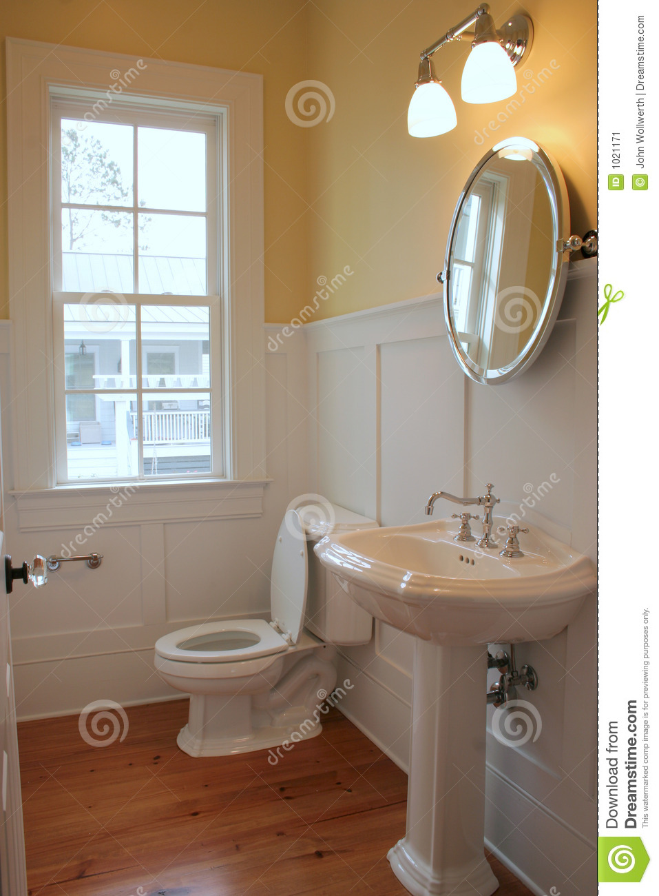 Simple Bathroom Stock Image Image Of Plumbing Home Mirror 1021171