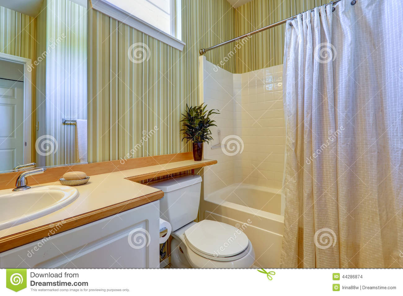 Simple Bathroom Interior With Green Wallpaper