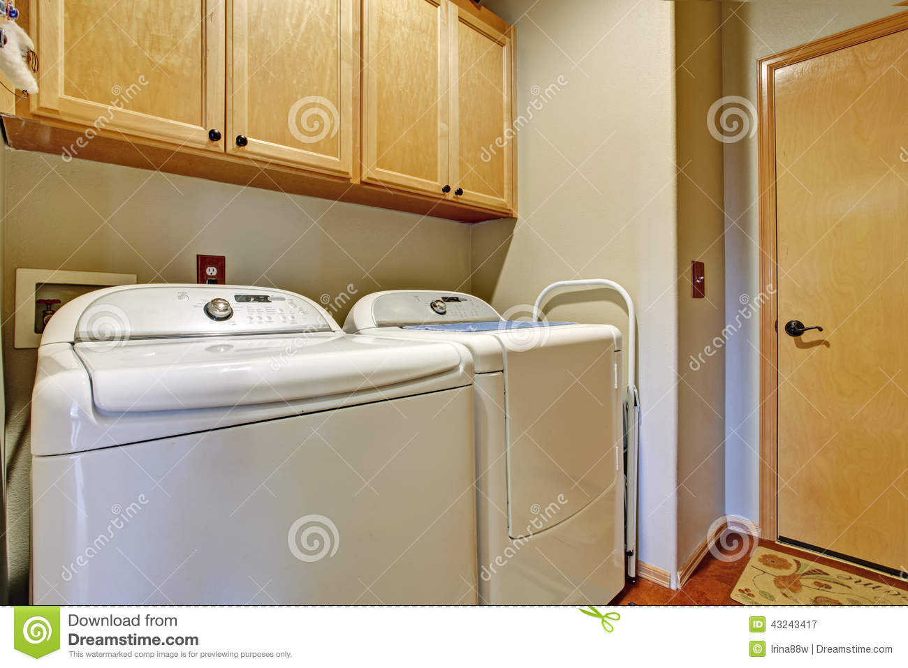 Simple bathroom interior with white appliances stock photo for Restroom appliances
