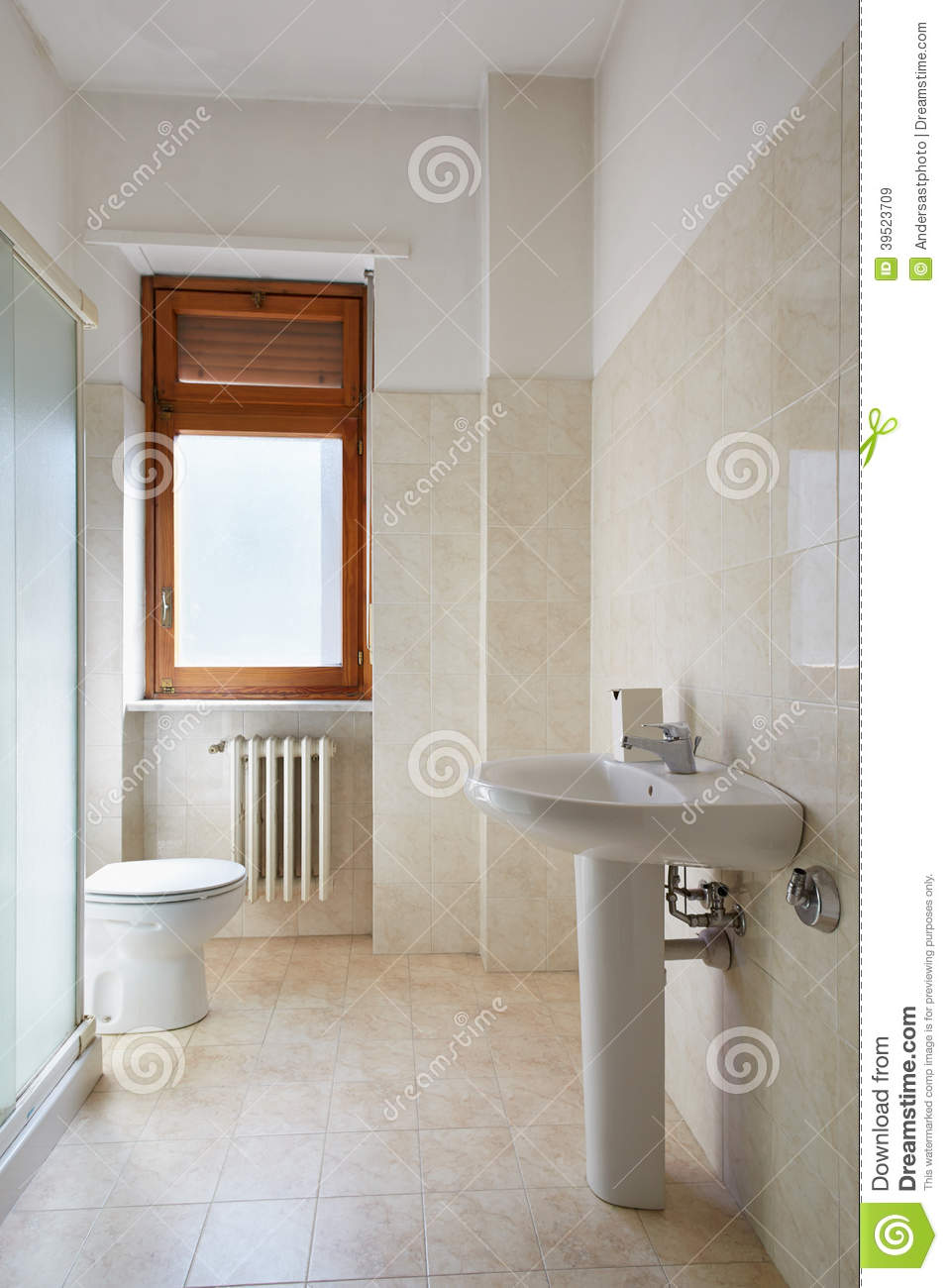 Simple Bathroom In Normal Apartment Stock Photo Image 39523709