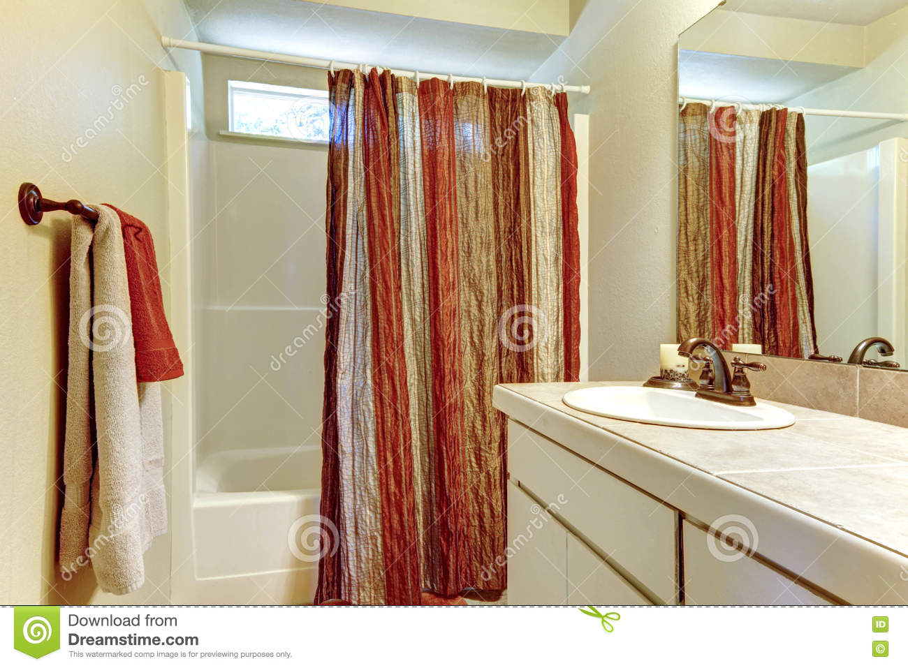 Simple Bathroom With Red And Brown Colors In Shower Curtain