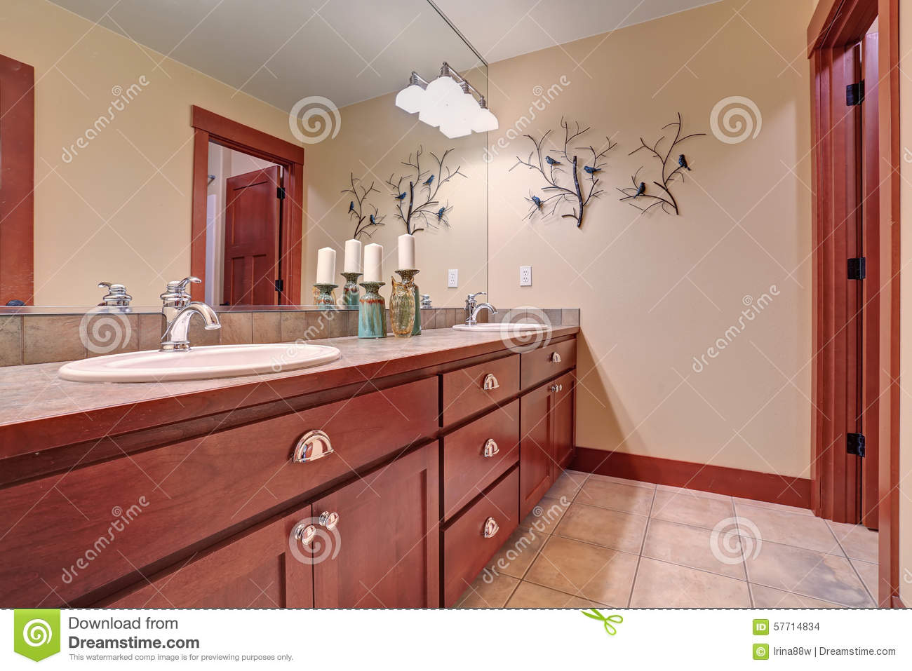 simple bathroom with red wood cabinets stock photo image 57714834