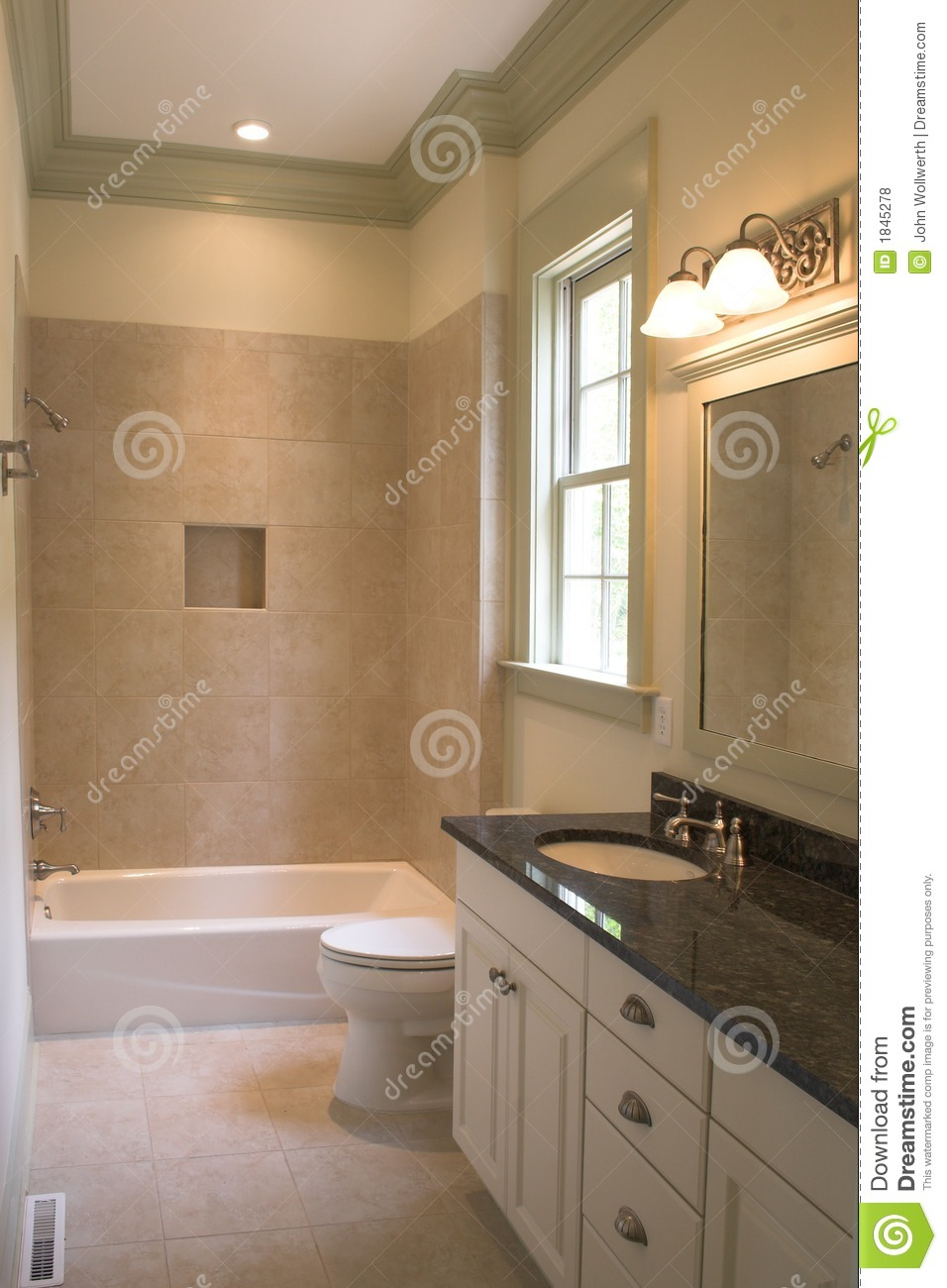 Simple bathroom with tile and stone stock photo image of for House simple restroom design