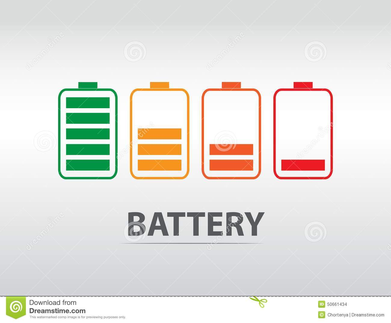 Windows 8 1 Set Battery Charge Level : Simple battery icon with colorful charge level stock