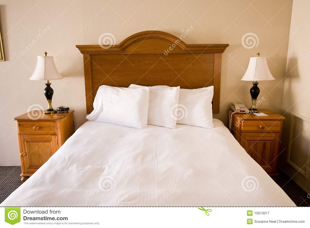 Royalty Free Stock Photo  Download Simple Bed. Simple Bed  Headboard  Nightstands  Lamps Royalty Free Stock