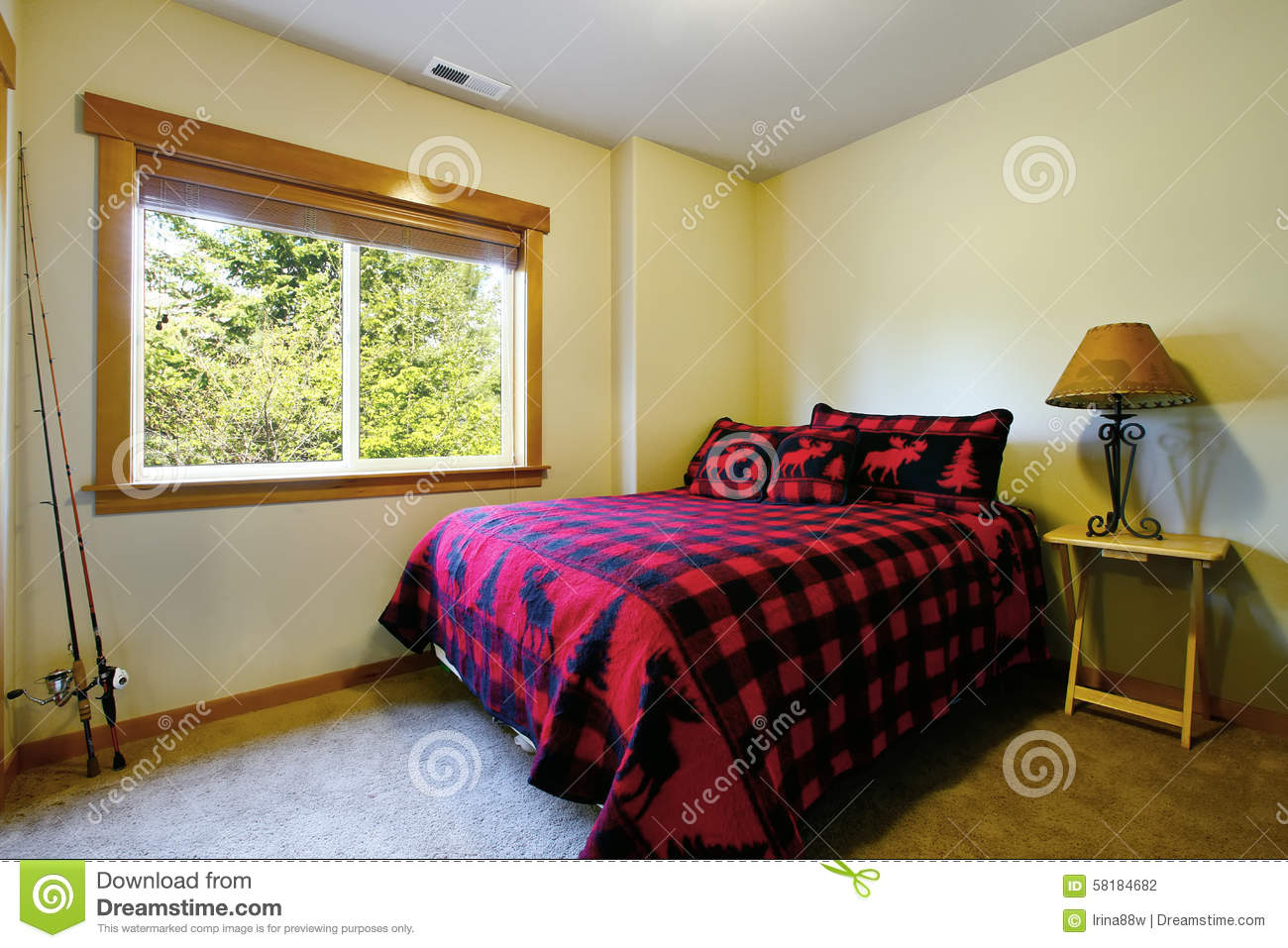 Simple Bedroom In Cabin Style Home Stock Photo Image