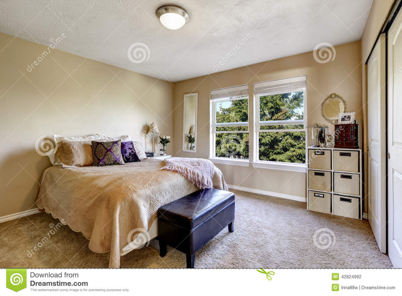 Simple bedroom interior with bed and ottoman stock photo image of free image 42824992 - Image of simple bedroom ...
