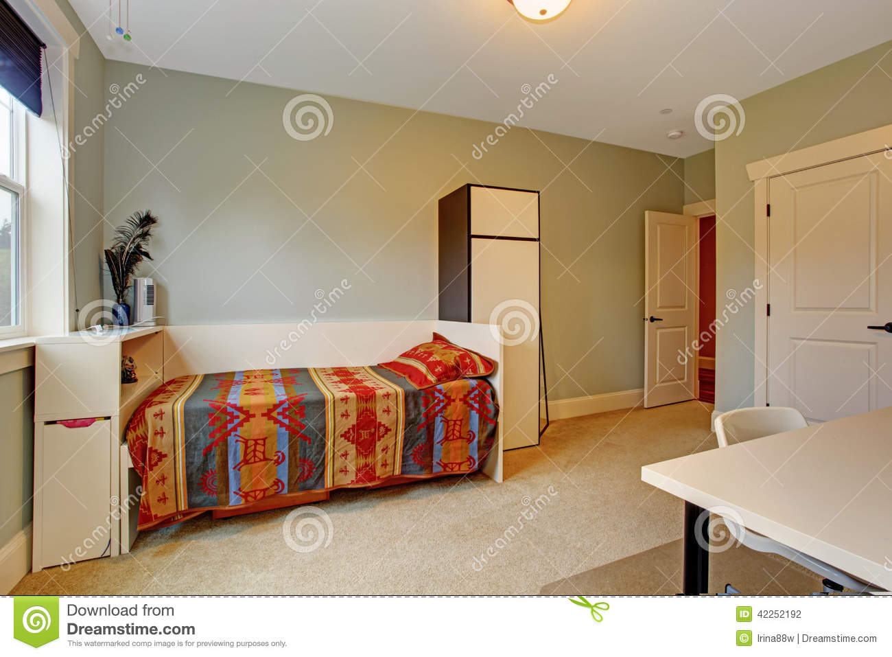 Simple bedroom interior with single bed stock photo for Simple bedroom interior