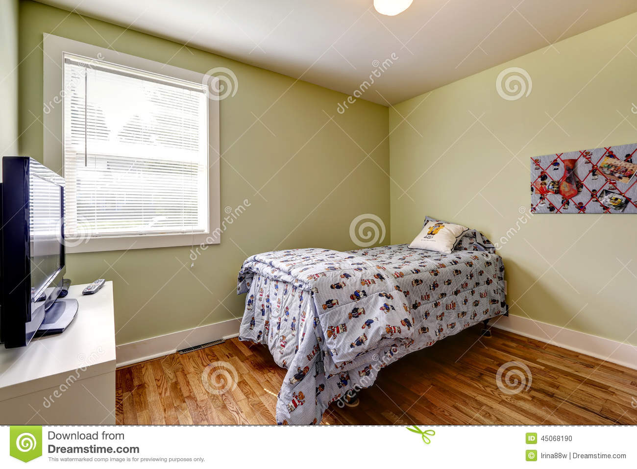 Simple Bedroom With Single Bed simple bedroom interior with single bed and tv stock photo - image