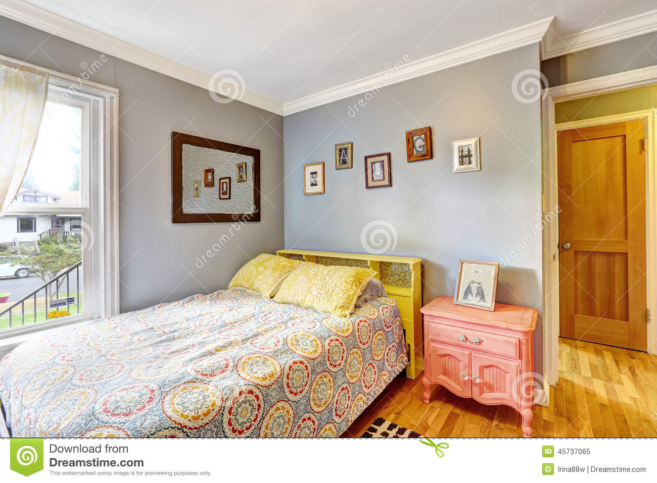 Simple bedroom with light blue walls stock photo image for Dormitorio simple