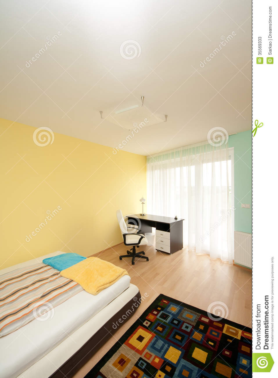 Simple bedroom stock image image of bright furniture 35569333 - Image of simple bedroom ...