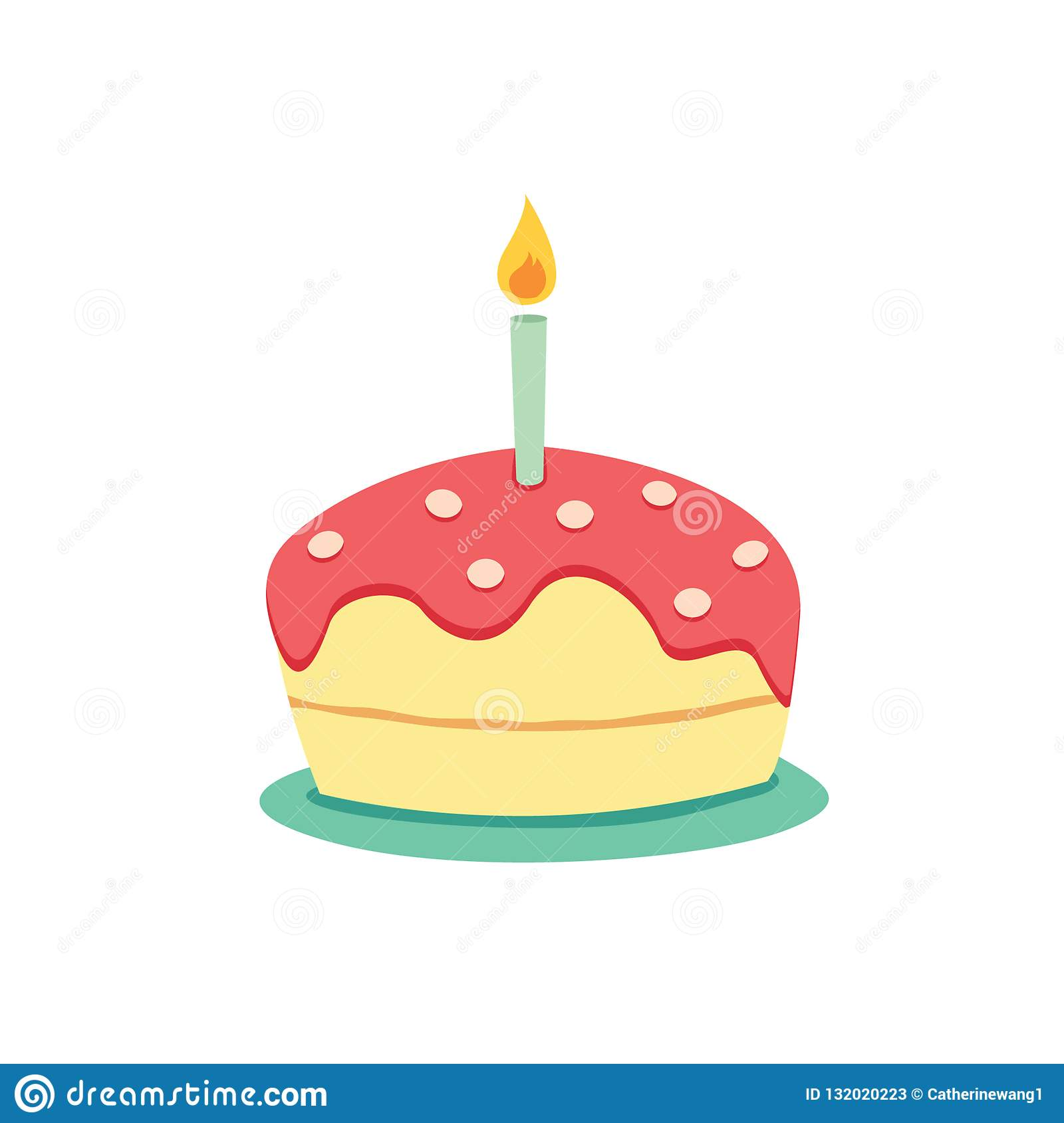 Wondrous Simple Birthday Cake With Candle Vector Stock Vector Funny Birthday Cards Online Alyptdamsfinfo