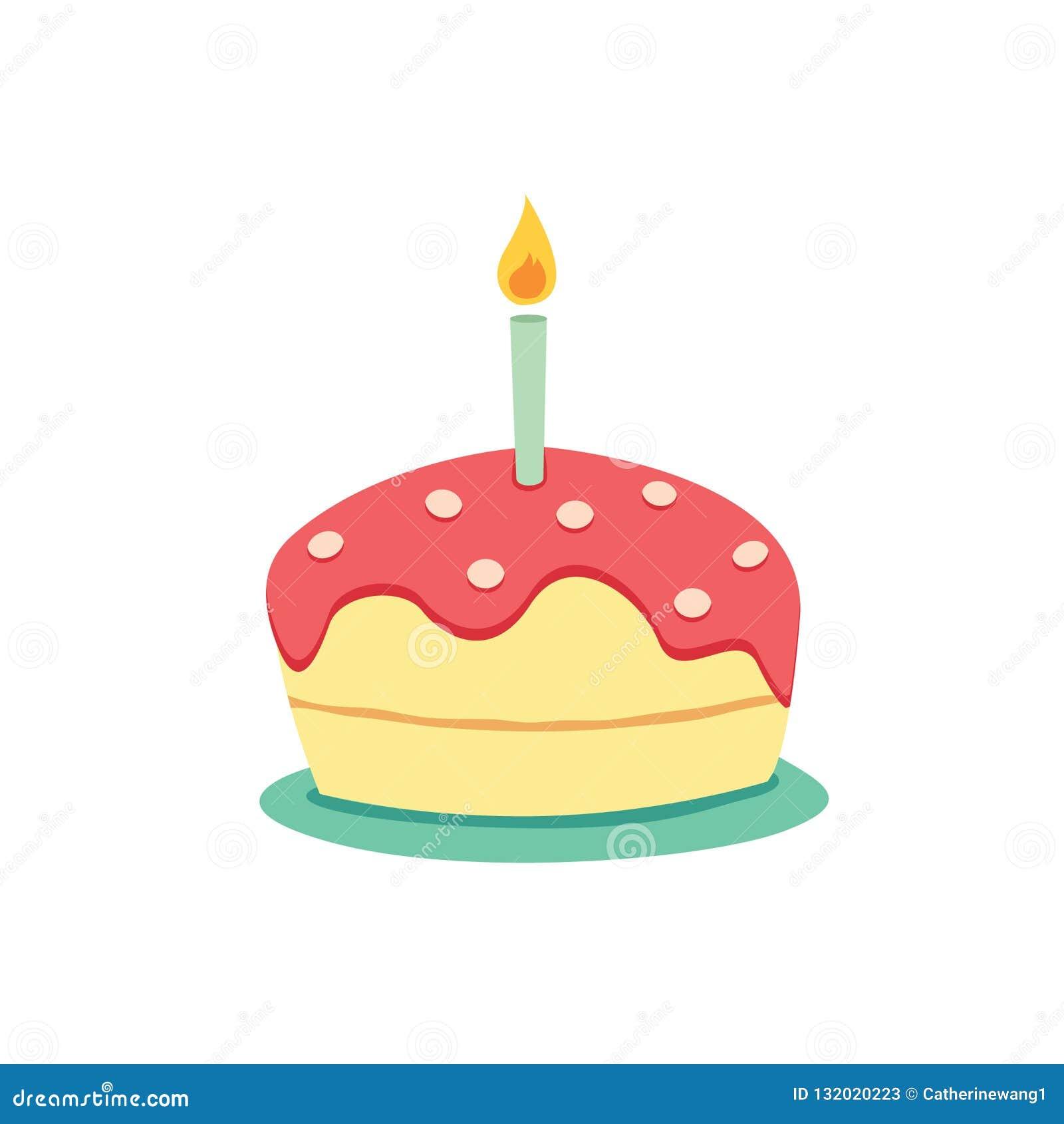 Surprising Simple Birthday Cake With Candle Vector Stock Vector Funny Birthday Cards Online Elaedamsfinfo