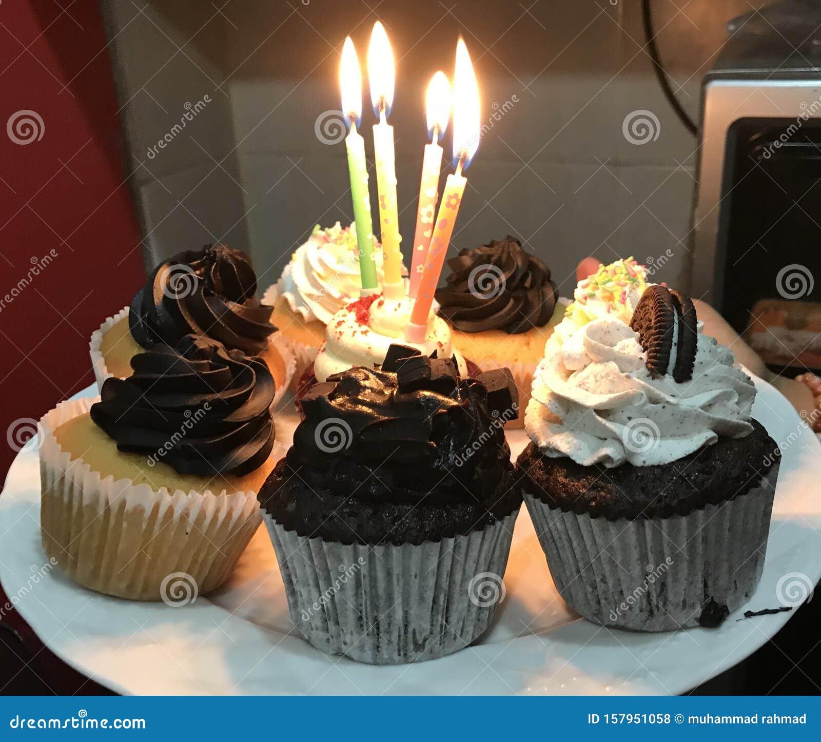 Pleasant Simple Birthday Cakes Celebrated With Friends Stock Photo Image Personalised Birthday Cards Veneteletsinfo