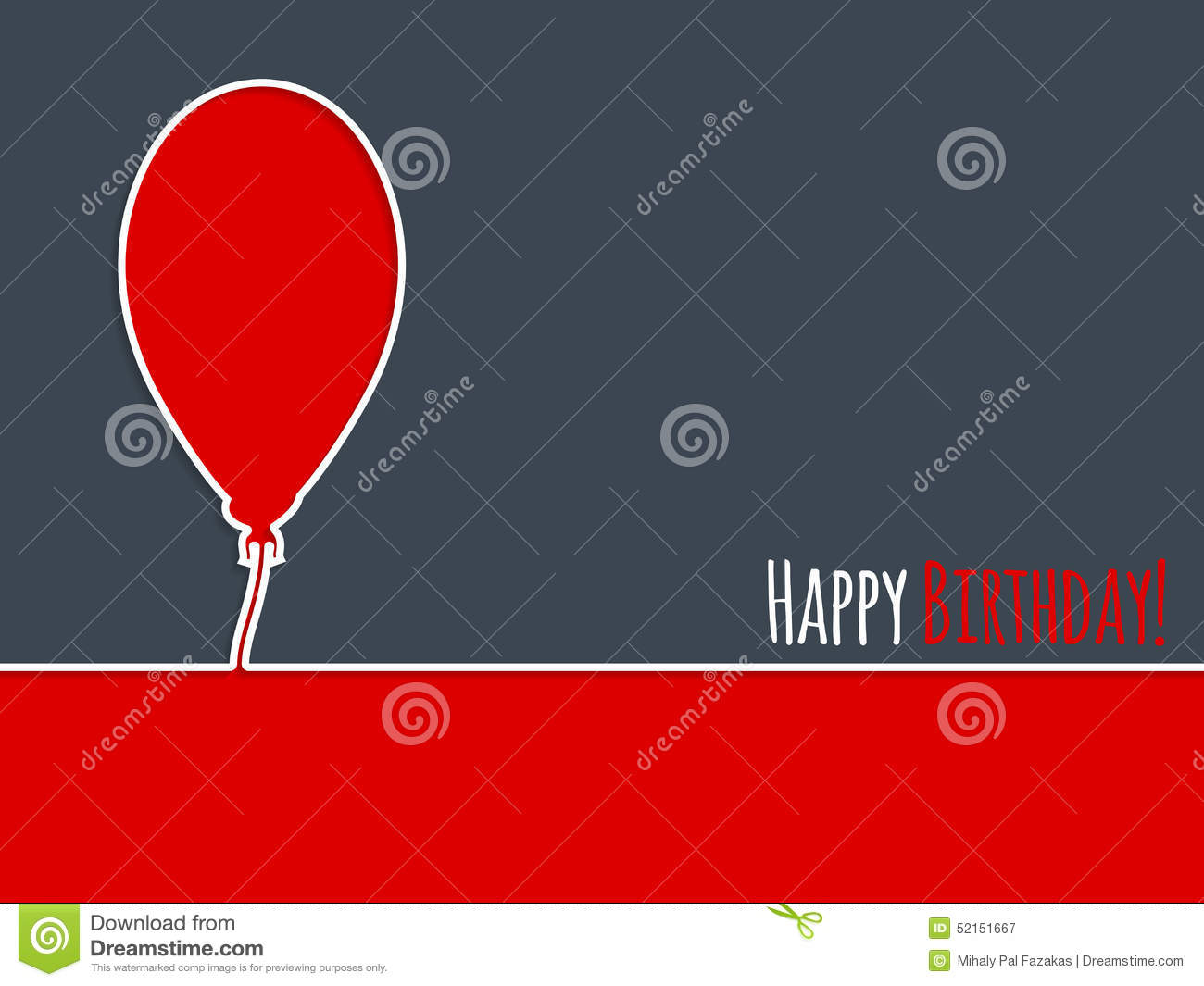 simple birthday card with balloon stock illustration  image, Birthday card