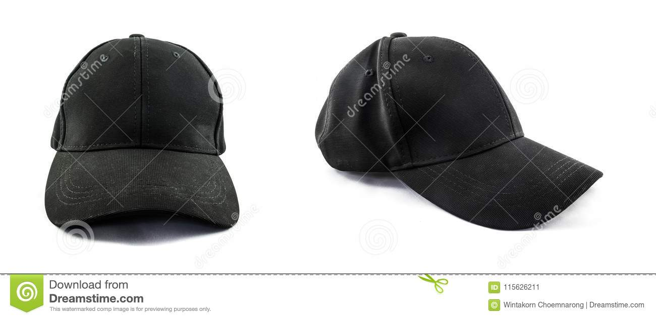 Simple Black Baseball Cap Isolated Stock Image - Image of concept ... dd83383215d