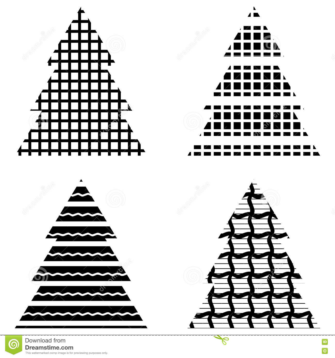 Simple Black Christmas Tree Icon Set Stock Vector Illustration Of
