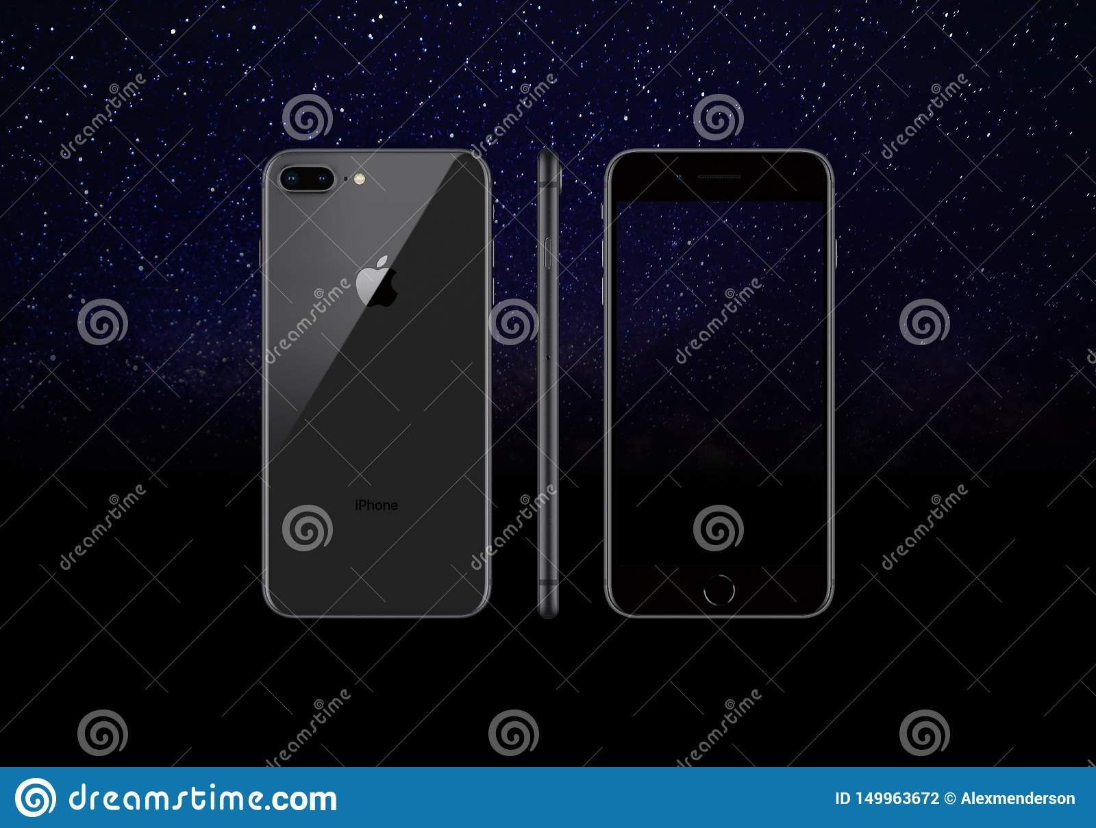 Black Model Of The Iphone 8 Plus Isolated On A Black Background Editorial Photography Illustration Of Elegant Black 149963672