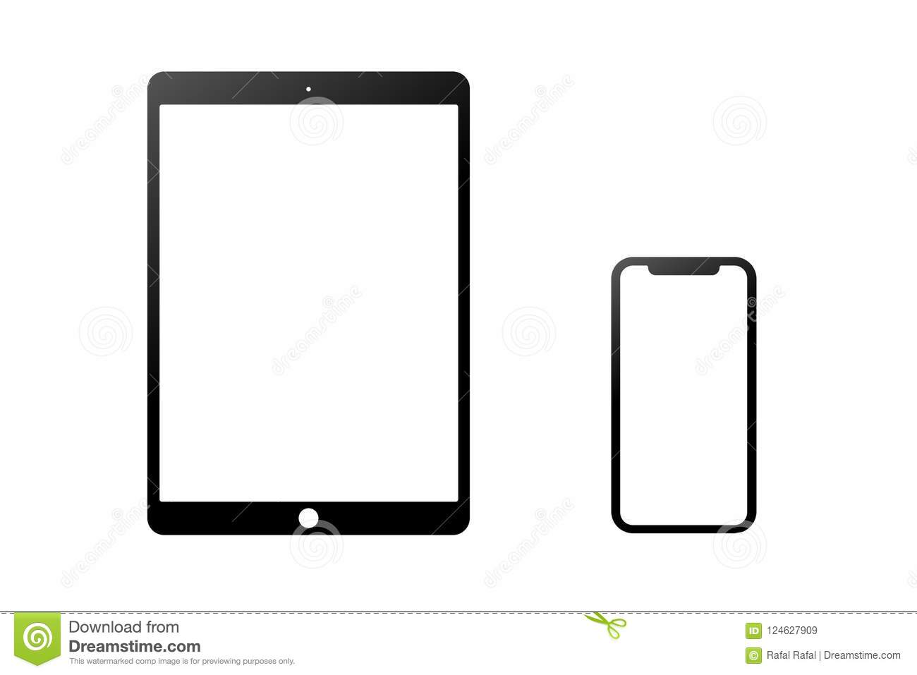 Black Model Of The Ipad Pro And Iphone X Isolated On A White