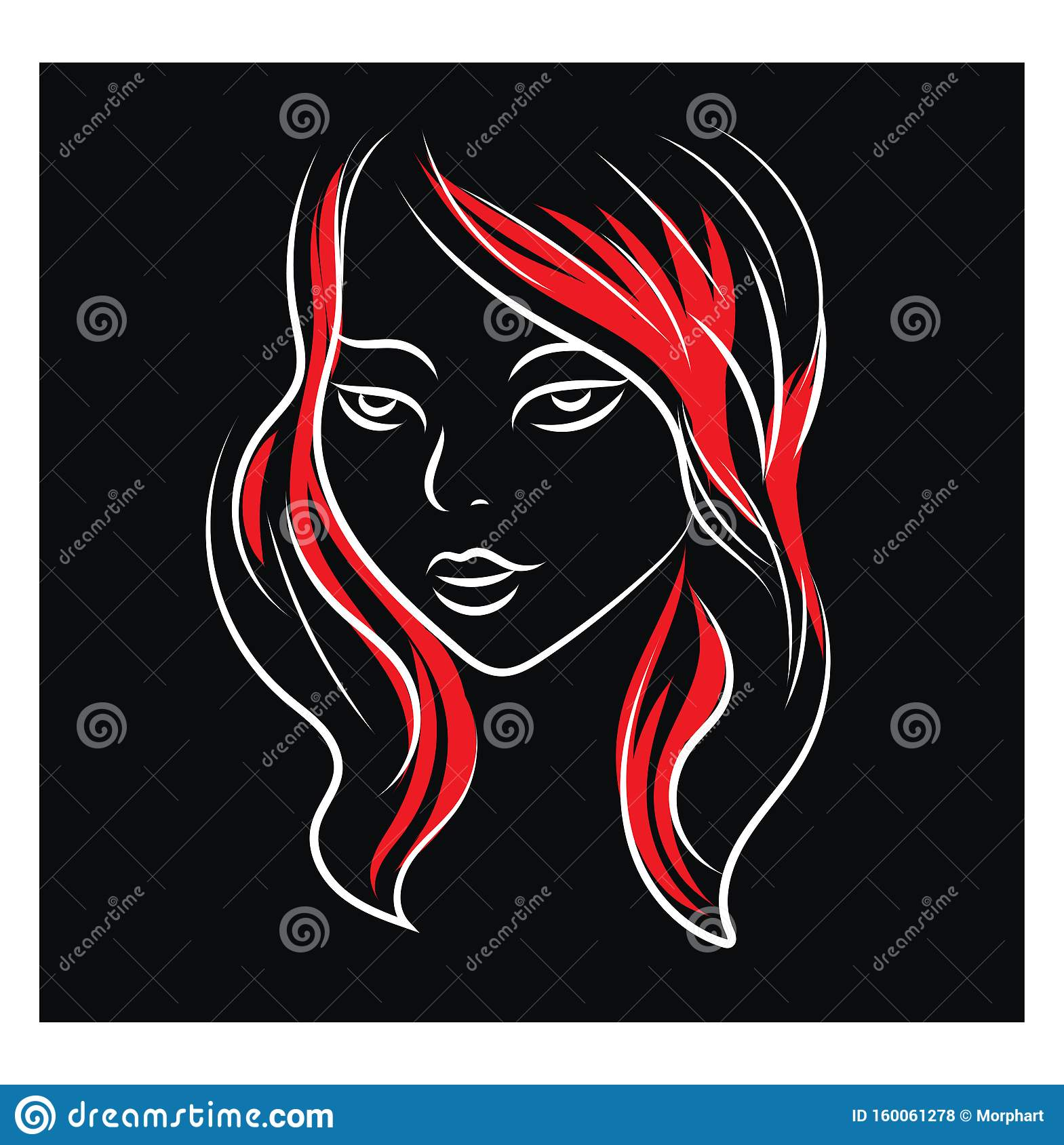 Simple Black Red And White Portrait Sketch Of A Girl Vector Illustration On Black Background With Ehite Frame Stock Vector Illustration Of Creative Graphic 160061278