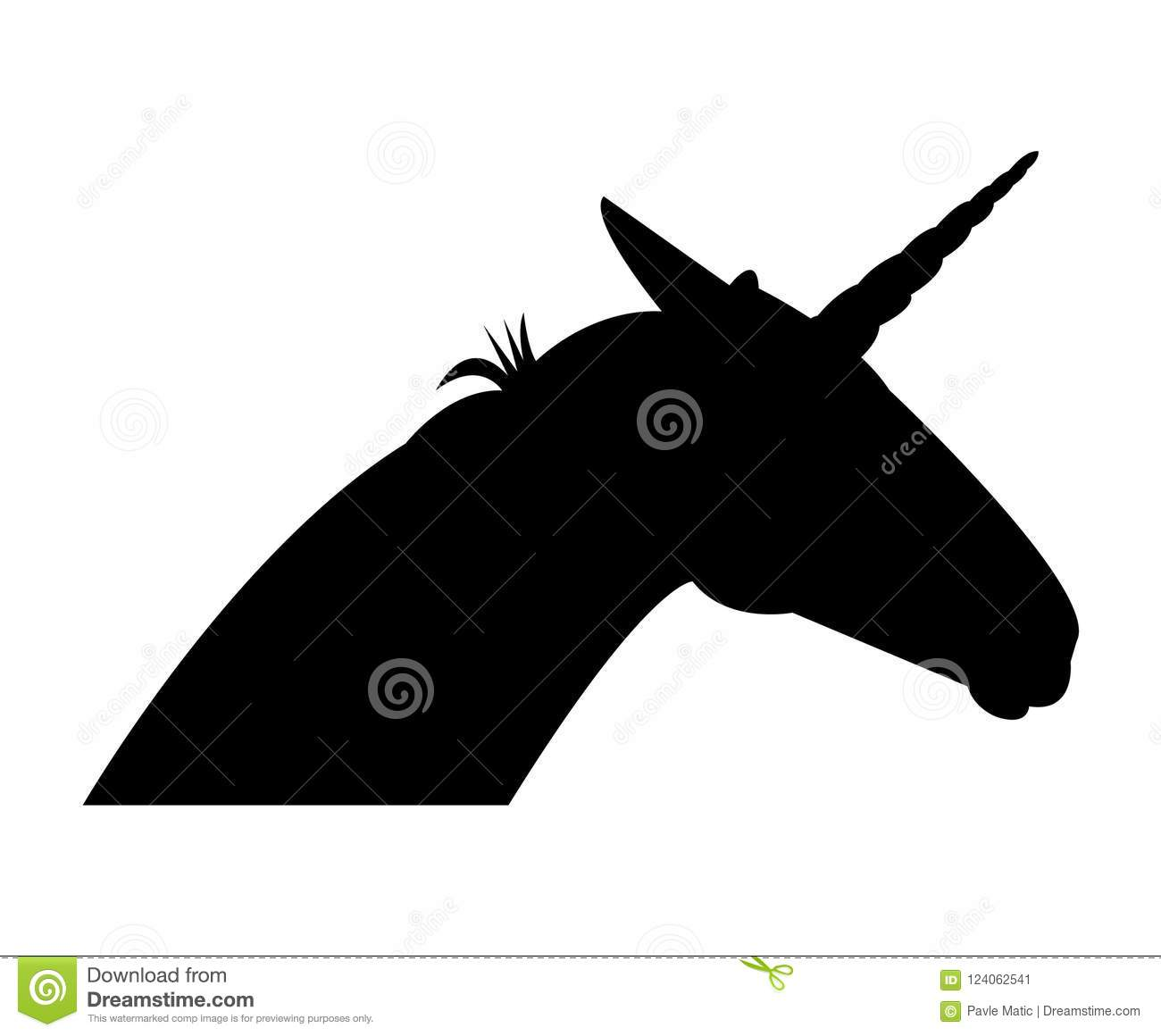 Unicorn Head Black Silhouette Stock Vector - Illustration of
