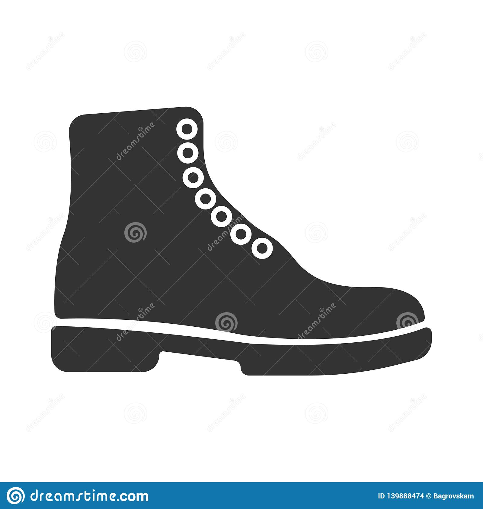 Simple black vector boots icon. Concept tourism, store, shop. Hiking boot icon, vector illustration design. Winter boots