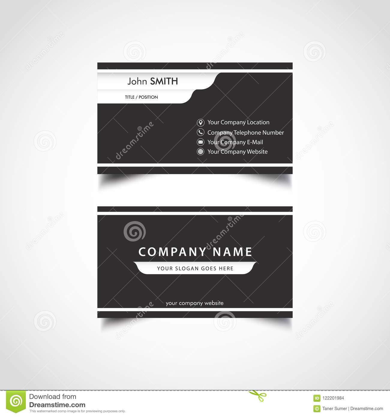 Simple Black And White Business Card Template Stock Vector