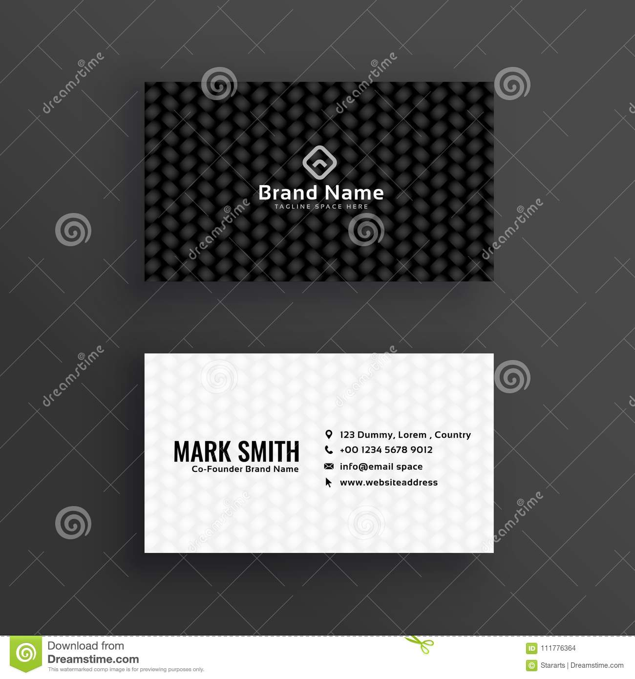Simple black and white dark business card design