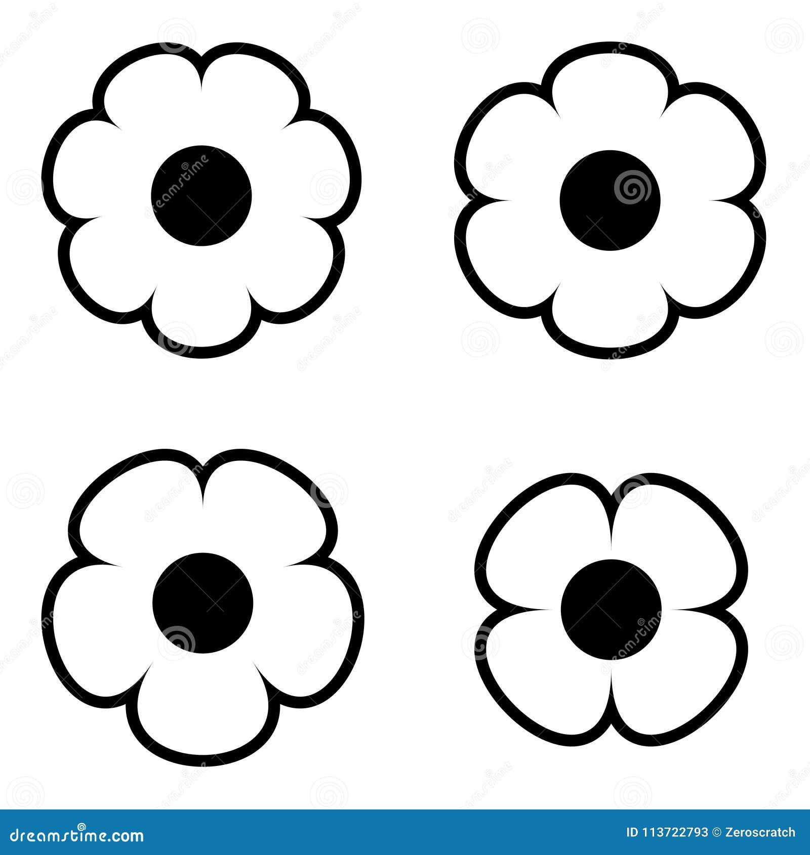 Simple black and white flower icon symbol logo set stock vector download simple black and white flower icon symbol logo set stock vector illustration of elements mightylinksfo