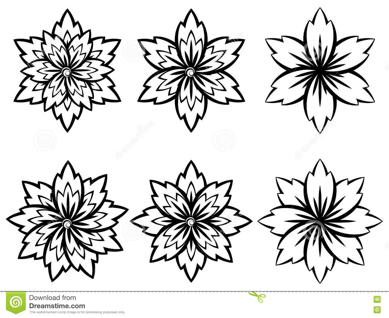 Simple Black And White Flowers Stock Vector Illustration Of Style