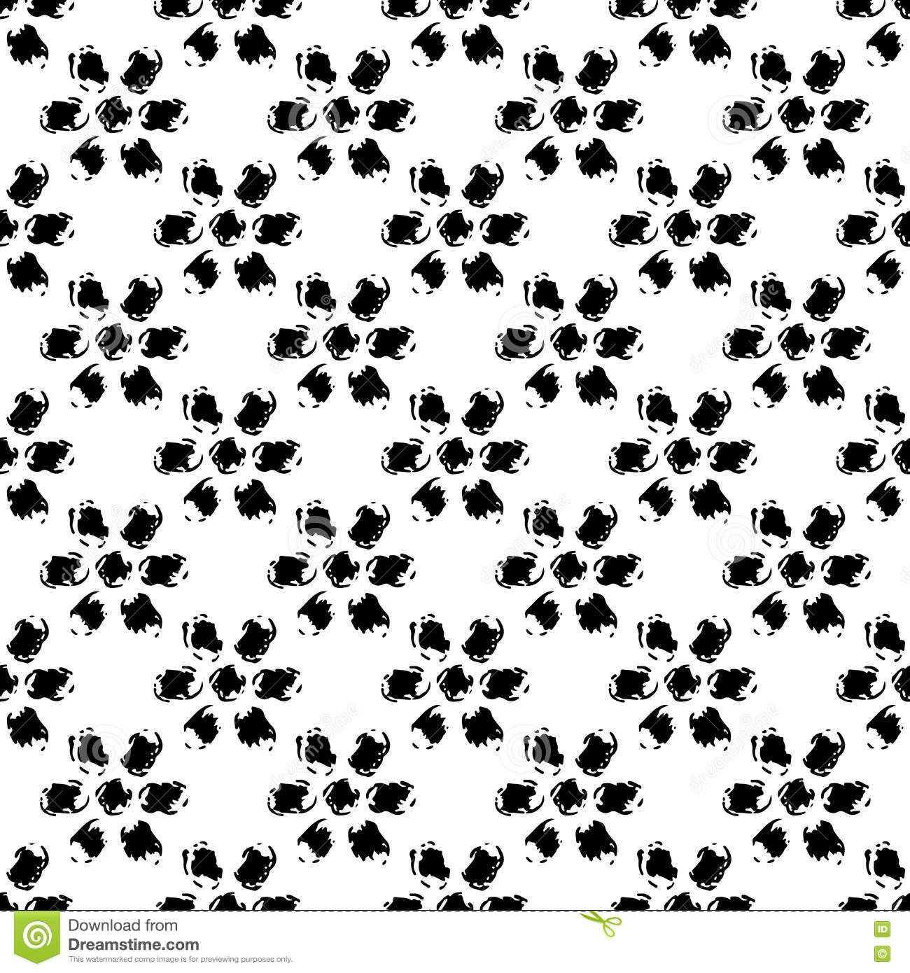 Simple black and white grunge hand drawn flowers seamless pattern download comp mightylinksfo