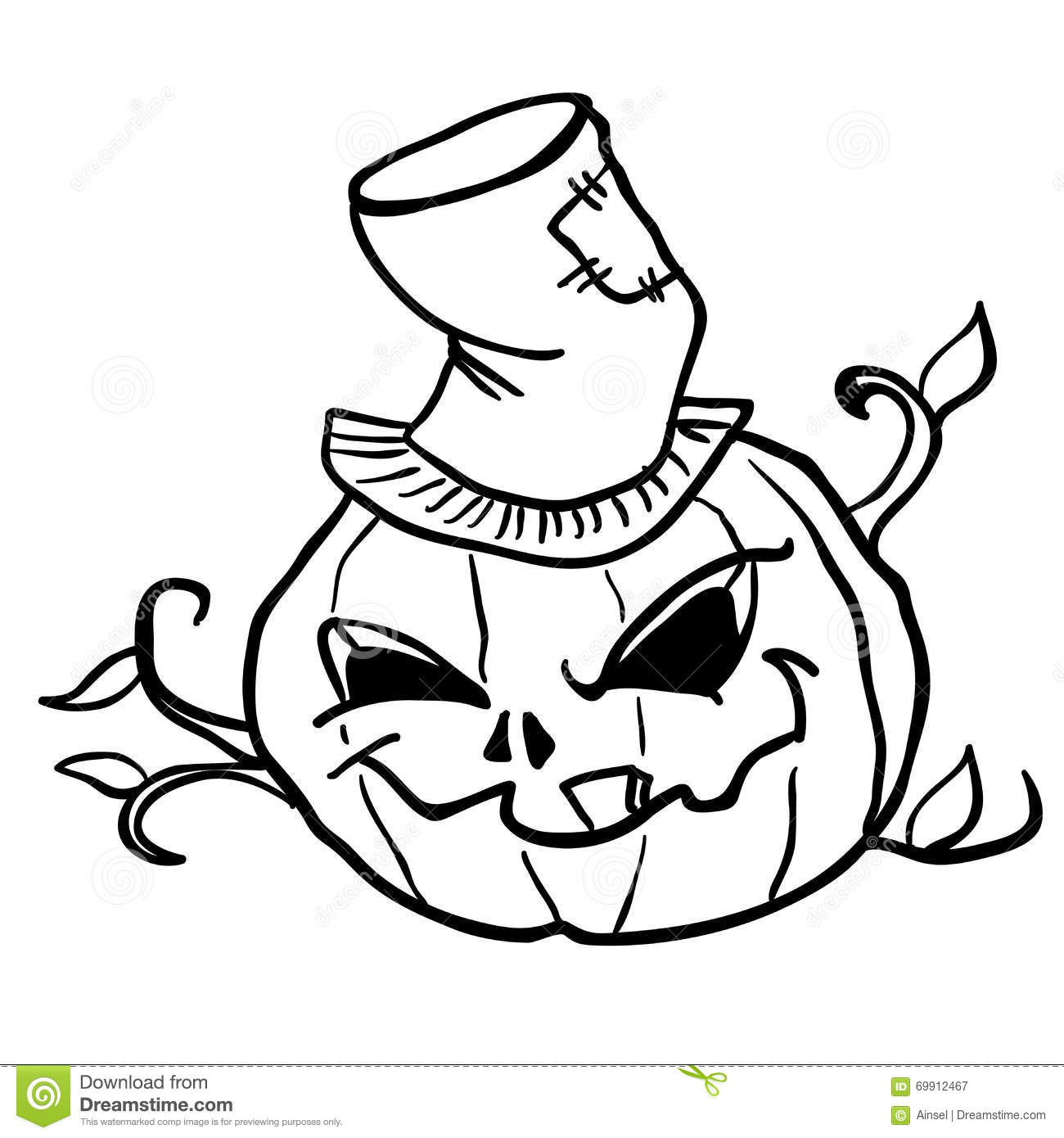 Black And White Happy Halloween Pumpkin Cartoon Mascot ... |Cartoon Black And White Pumkin
